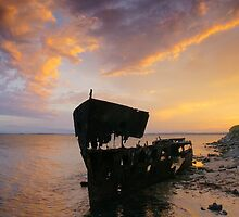Gayundah ship wreck. Woody Point. Moreton Bay.  by Ian Hallmond