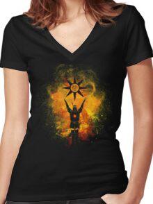 Praise the Sun Art Women's Fitted V-Neck T-Shirt
