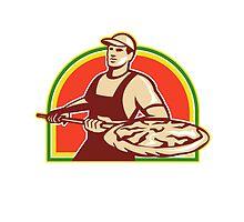 Baker Holding Peel With Pizza Pie Retro by patrimonio