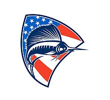 Sailfish Fish Jumping American Flag Shield Retro by patrimonio