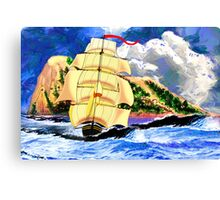 The Golden Clipper in Rough Sea at Gibraltar 2 Canvas Print