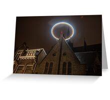 Night Lights of Utrecht. Halo at Willibrorduskerk. Netherlands Greeting Card