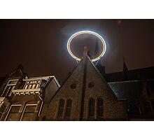 Night Lights of Utrecht. Halo at Willibrorduskerk. Netherlands Photographic Print