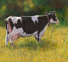 Holstein Cow in Oil Pastel by Joyce