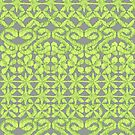 Ikat Lace in Lime Green on Grey by micklyn