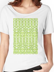 Ikat Lace in Lime Green on Grey Women's Relaxed Fit T-Shirt