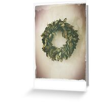 Antique Look Wreath of Dried Bay Leaves Greeting Card