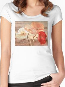 Poppies in Red, White & Peach Women's Fitted Scoop T-Shirt