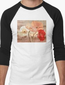 Poppies in Red, White & Peach Men's Baseball ¾ T-Shirt