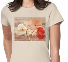 Poppies in Red, White & Peach Womens Fitted T-Shirt