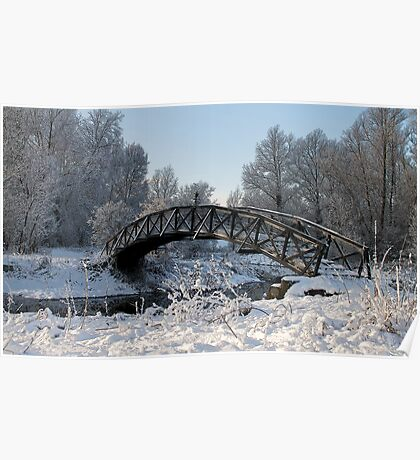 Bridge Snow Scene Poster