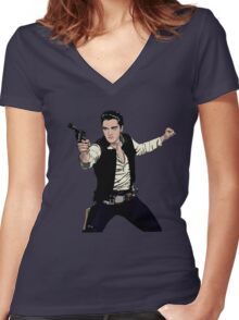 Han Elvis Solo Women's Fitted V-Neck T-Shirt