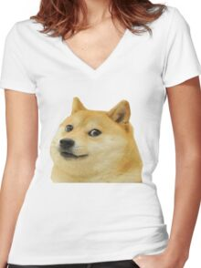 Doge Is Love, Doge is life Women's Fitted V-Neck T-Shirt
