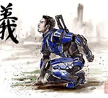 Kaidan from Mass Effect series Sumie style Righteousness by Mycks
