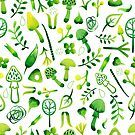 - Green watercolor mushrooms pattern - by Losenko  Mila
