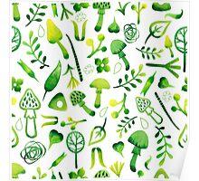 - Green watercolor mushrooms pattern - Poster