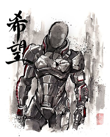 Commander Shepard from Mass Effect sumie style with HOPE by Mycks