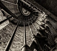 Old lighthouse stairway by woodnimages