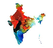 Map of India by Sharon Cummings Photographic Print