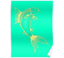 Turquoise Fish Illustration Poster