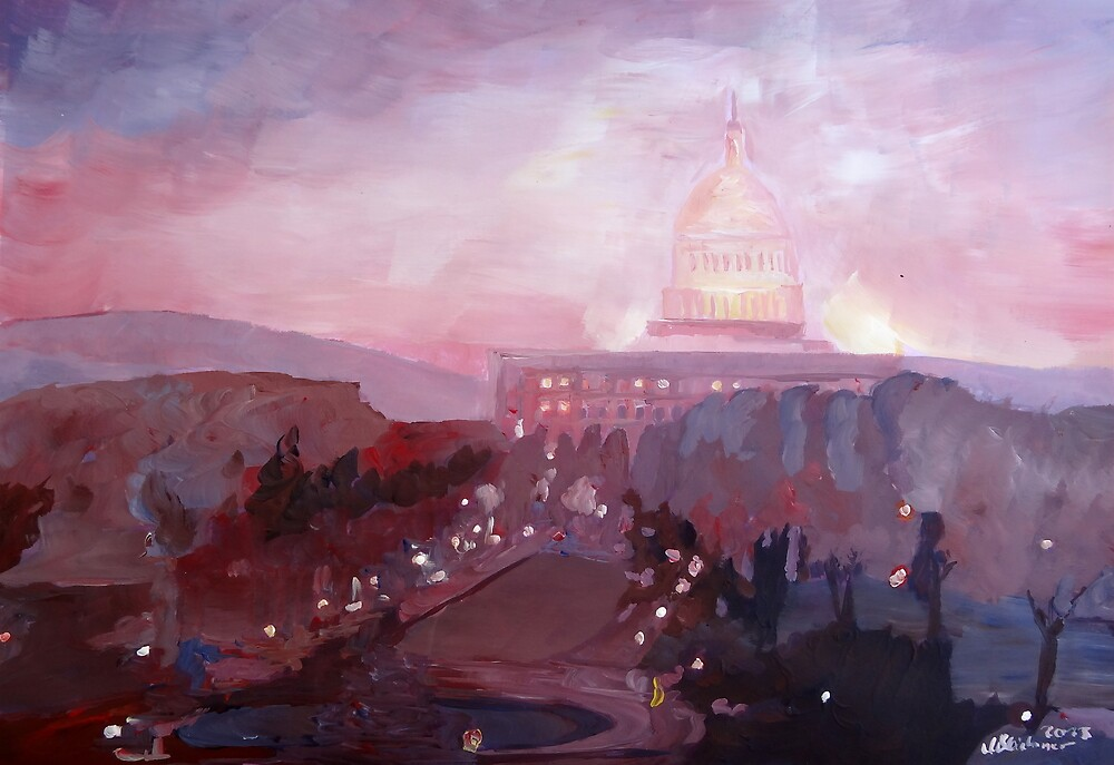 United States Capitol in Washington D.C. at Dusk by artshop77