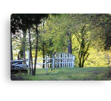 Rustic White Country Fence Canvas Print
