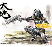 Tali from Mass Effect Sumie style with calligraphy Great Land by Mycks