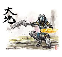 Tali from Mass Effect Sumie style with calligraphy Great Land Photographic Print