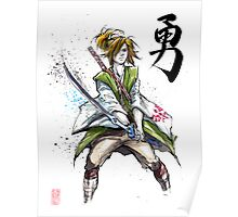 Link from Zelda Sumie style calligraphy COURAGE Poster