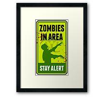 Zombie Warning Sign Framed Print