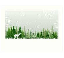 Winter forest scene Art Print