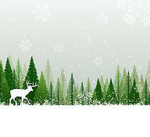 Winter forest scene by emberstudio