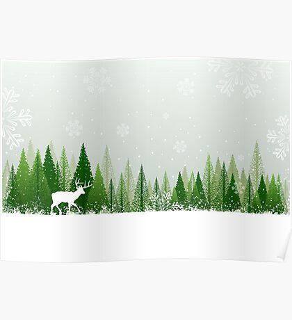Winter forest scene Poster