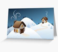 Winter cabin scene Greeting Card