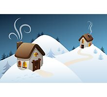Winter cabin scene Photographic Print