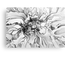 Sub-Atomic Stress Release Therapy - Watercolor Painting - Black and White Metal Print