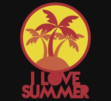 I LOVE SUMMER with island and circle palm trees by jazzydevil