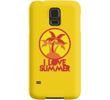 I LOVE SUMMER with island and circle palm trees Samsung Galaxy Case/Skin
