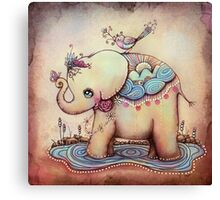 Little Diana the Vintage Elephant Princess Canvas Print