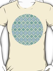 Moroccan Aqua Doodle pattern in mint green, blue & white T-Shirt