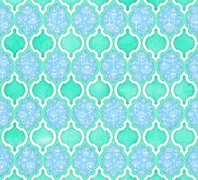 Moroccan Aqua Doodle pattern in mint green, blue & white by micklyn