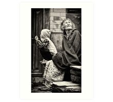 Old woman and child Art Print