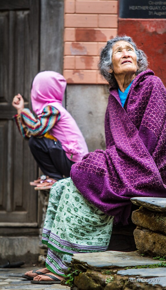 Old woman and child - colour by Alan Robert Cooke