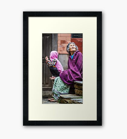 Old woman and child - colour Framed Print