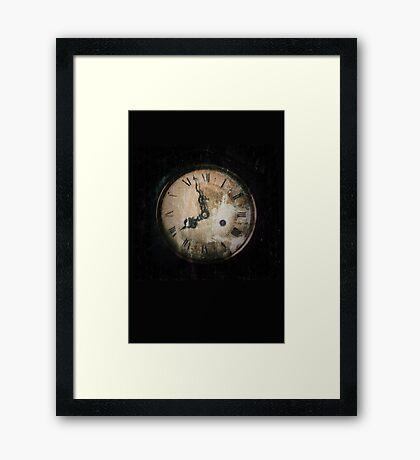 Antique Feel Photograph of an Eerie Clock Face Framed Print