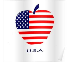 American flag as a symbol of the apple Poster