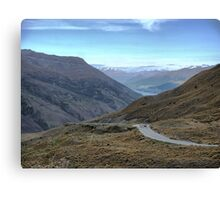 From the Crown Range Road. ( 4 ) Queenstown in the mist. Canvas Print
