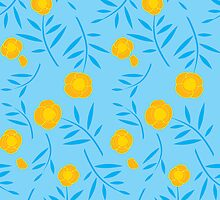Turquoise floral pattern design by CClaesonDesign