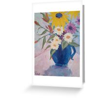 Blue Pitcher with Flowers Greeting Card