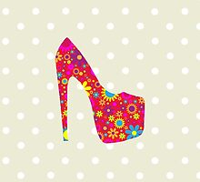 High Heel Shoe, Flowers, Red Yellow Blue by sitnica